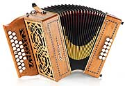 Castagnari Dony button accordion, natural finish cherry