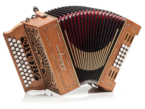 Castagnari Evo 18 button accordion, natural finish cherry