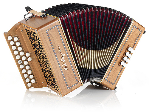 Castagnari Stephania button accordion, natural finish cherry