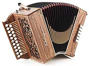 Castagnari Fazzy button accordion, natural finish walnut