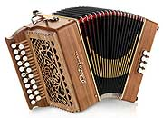 Castagnari Tommy button accordion, natural finish walnut