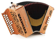 Castagnari Vicky button accordion, natural finish cherry